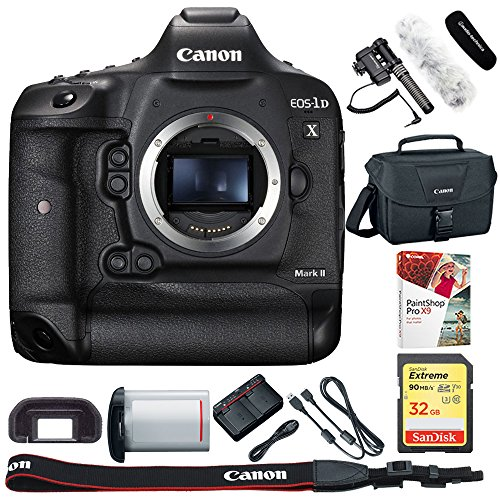Canon EOS-1D X Mark II Digital SLR Camera Body Bundle Includes, Stereo/Mono Camera Mount Microphone, 32GB Extreme SD Memory UHS-I Card, Corel PaintShop Pro X9 & DSLR Gadget Shoulder Bag