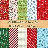FEPITO Juego de papel de patrón navideño de 90 hojas, papel decorativo de 14 x 21 cm par...