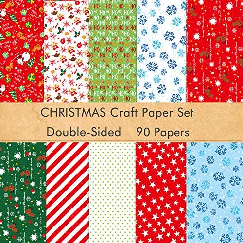 FEPITO 90 Blatt Weihnachtsmusterpapier Set, 14 x 21 cm Dekorpapier für DIY Sammelalbum Karte zum Dekorieren, 10 Designs