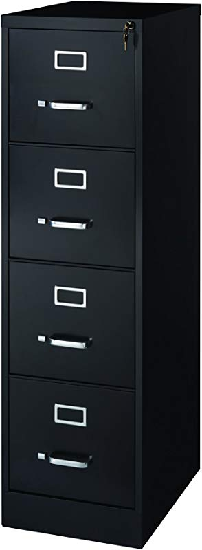 Office Dimensions Commercial 4 Drawer Letter Width Vertical File Cabinet 22 Deep Black