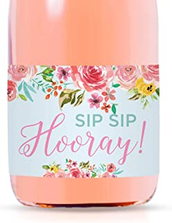 Andaz Press Mini Champagne Wine Bottle Labels, Sip Sip Hooray!, Pink Roses English Tea Party, 20-Pack, Mini Champagne Favor Gift Labels 21st Birthday Baby Shower Bridal Shower Bachelorette Party