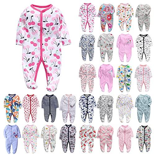 YWLINK Pijama para Bebé- Mameluco De AlgodóN con Cremallera con Puntos De Pegamento Antideslizantes para Pies,Bebé Prematuro Pijama Mameluco Ropa AlgodóN Pijama De Casa con Mono De Botones