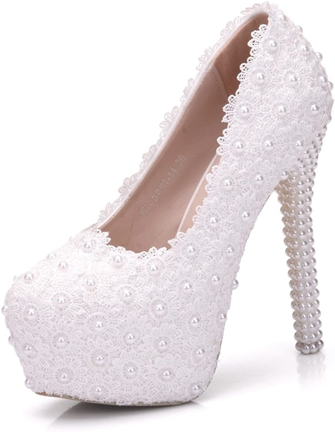 Eleganceoo Women's Handmade Lace with Flower Pearls Dress High Heel shoes