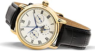 Stauer Men's Magnificat II Automatic Watch with Gold Fused Case and Genuine Black Leather Band