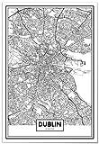 Panorama Poster Karte von Dublin 50x70 cm - Gedruckt auf