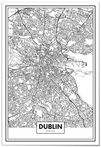Panorama Póster Mapa de Ciudad Dublín 35x50cm - Impreso en Papel 250gr - Póster Pared - Cuadros Modernos Decoración Salón - Cuadros para Dormitorio - Póster Decorativos