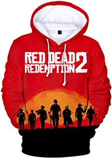 Game Red Dead Redemption 2 Unisex Pullover Hoodie Halloween Sweatshirt Cosplay Costume (XL(Chest116cm/45.7in, C)