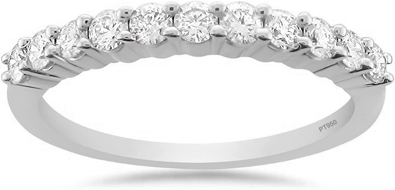 Platinum 11-Stone Round Diamond Bridal Wedding Band Ring (1/2 cttw, H-I, VS2-SI1)