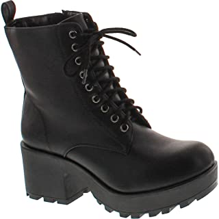 Women's Magpie Faux Leather Lace-Up Combat Mid Heel Military Ankle Boots