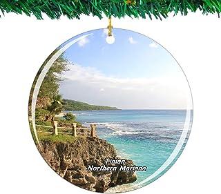 Weekino 多賀ビーチテニアン北マリアナアメリカ北部クリスマスオーナメントシティ旅行お土産コレクション両面 磁器2.85インチ ぶら下がっている木の装飾