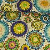Dekostoff Mandala royalblau gelb Canvas - Preis gilt für