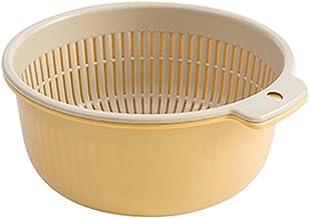 GKKXUE Kitchen Supplies Kitchen Double Drain Basket Fruit Vegetable Washing Strainer Collapsible Drainer kitchen Gadgets A...