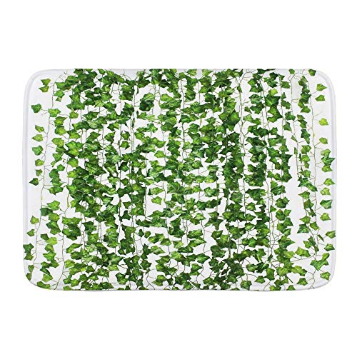 FOURFOOL Bath Mat,Artificial Ivy Garland Fake Plants Green For Wedding Party Garden Outdoor Greenery Wall Decoration,Non Slip Bathroom Rugs Absorbent Bath Mats Washable Shower Rug Microfiber Carpet