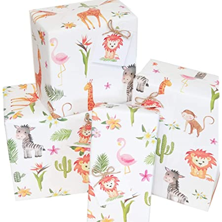 2 x Safari Gift Wrap Collection with tags 10 sheet each book 22 Gift Tags