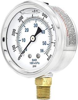 "Sponsored Ad - PIC Gauges PIC Gauge PRO-201L-254L 0-800 PSI Pressure Gauge, 2 1/2"" Dial, 1/4"" Male NPT Connection, Bottom ..."