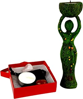 Imprints Plus Nurturing Goddess Statue and Tealight Candles Holder Includes 2 Tealights and 2 Assorted Healing Stones in a Drawstring Velvet Pouch Bundle (32438)