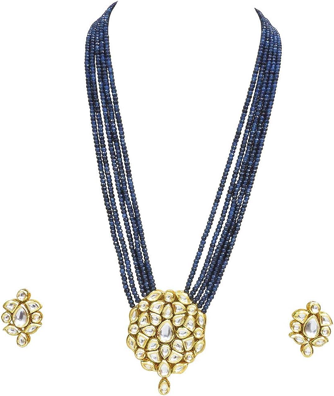 Babosa Sakhi Blue Onyx Traditional Designer Kundan Pendant Set Imitation Jewelry