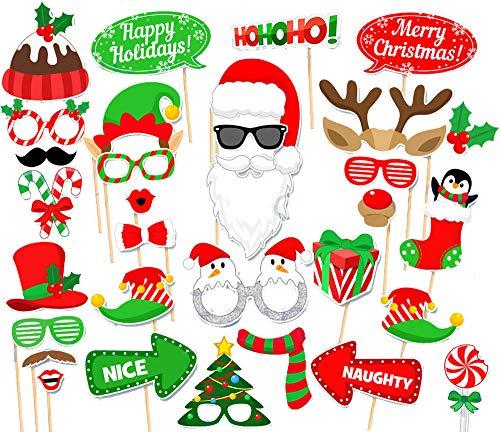 31PCS Christmas Xmas Santa Party Card Masks Photo Booth Props Mustache Supplies
