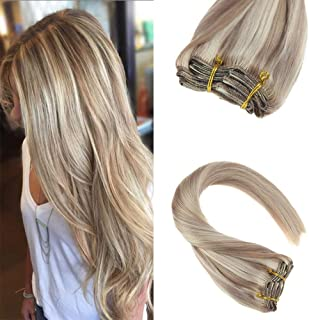 Sunny Clip in Hair Extensions 14 inch Clip in Ash Blonde Hair Extensions Real Human Hair Ash Blonde Highlight Bleach Blonde Clip in Extensions Blonde Highlights 120g 7pcs