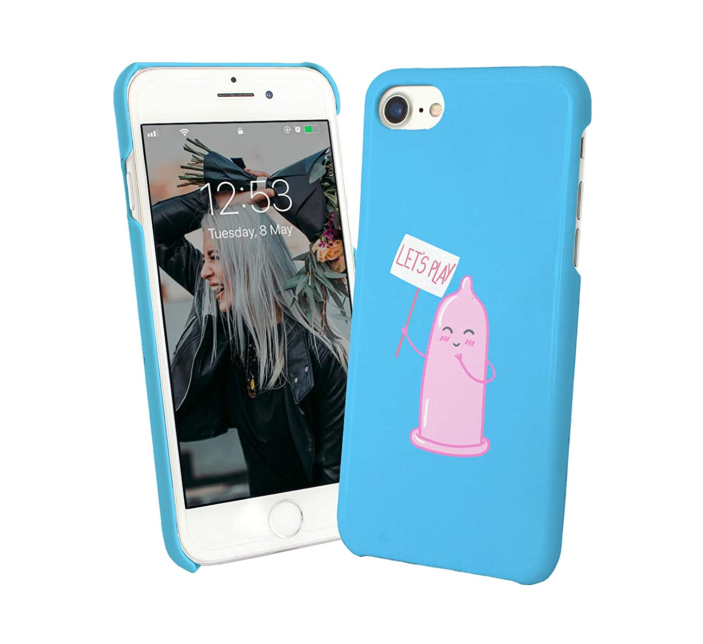 Cute Condom Let's Play_004005 Protective Case Cover Hard Plastic iPhone Xs MAX (2018) Funny Gift Christmas for Him for Her