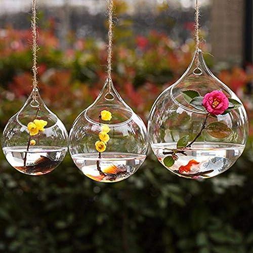 Demarkt 3X Florero de Vidrio Transparente Colgante Manualidades Decoración para Hogar Artesanía de Cristal 1 *