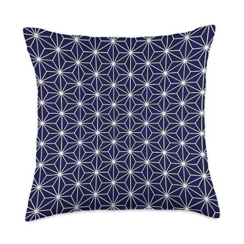 Traditional Japanese Kimono Elegazelle Designs Wagara Traditional Japanese pattern design - ASANOHA Throw Pillow, 18x18, Multicolor