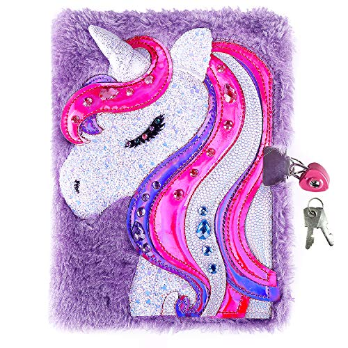 Unicorn Diary for Girls with Lock and Keys, Unicorn Journal, Magic Unicorn Notebook for Kids and Adults, Plush Secret Diary Lined Notebook 300 Pages for Writing and Drawing, Unicorn Gifts For Girls