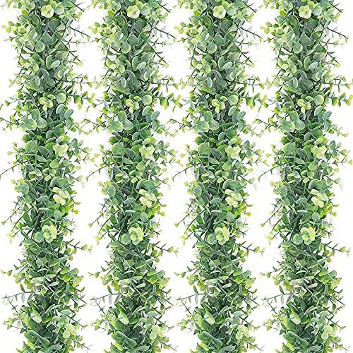 Milkvetch Paquete de 4 Guirnaldas de Eucalipto Artificiales Verdes Vides de Eucalipto Hojas de Eucalipto de DóLar de Plata SintéTica para Puertas de Mesa