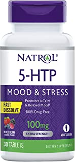 Natrol 5-HTP Fast Dissolve Tablets, Promotes a Calm Relaxed Mood, Helps Maintain a Positive Outlook, Enables Production of...