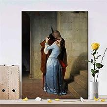 Italia Pintor Francesco Hayez Kiss-Il Bacio Carteles e Impresiones Arte de la Pared Pintura de la Lona Amante Imagen para la Sala de Estar Decoración Regalo 60x75 cm Sin Marco