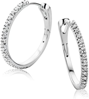 Orovi Orecchini Donna Cerchio in Oro Bianco con Diamanti Taglio Brillante Ct 0.19 Oro 9 Kt / 375