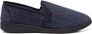 The Slipper Company Mens Navy Check Full Slipper