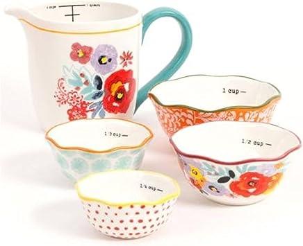 The Pioneer Woman Flea Market 5-Piece Prep Set, 4-Piece Measuring Bowls with 4-Cup Measuring Cup (1)