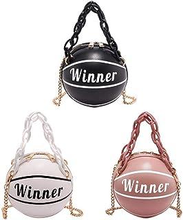 whelsara Bolso en Forma de Baloncesto, Bolsos de Hombro Redondos de Personalidad Tote Cross Body Messenger PU Bag para Mujeres niñas Viajes de Compras