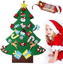 GeeRic Vilten kerstboom DIY kerstboom met 26 afneembare hangende ornamenten DIY decoratie hangende decoratie voor kinderen