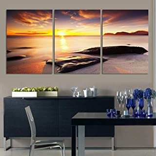 LINGBU Canvas painting,3 Piece Wall Art Sunset At Sea Oil Painting Prints On The Wall Picture Art Rocks Decoration Poster ...