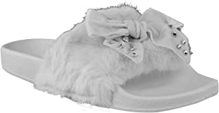 Fashion Thirsty Womens Flat Bow Slider Flat Faux Fur Diamante Sliders
