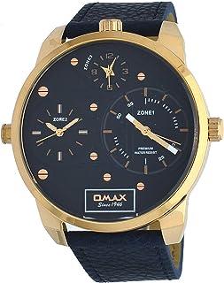 ساعة يد مقاس كبير جدًا بمينا ازرق مع اقراص فرعية لعرض 3 مناطق زمنية وسوار جلدي ازرق للرجال من اوماكس، TT01R441