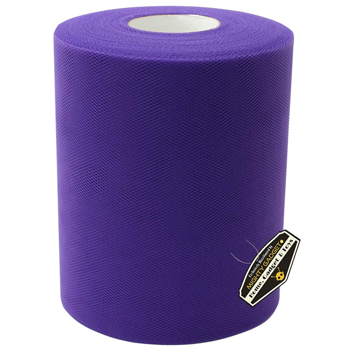 Mighty Gadget Brand Large Tulle Fabric Spool 6 inch x 100 Yards (300 feet) for Wedding and Decoration (Purple)