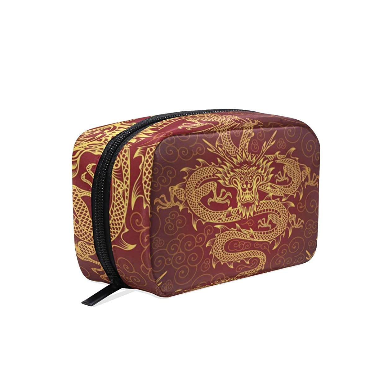 うぬぼれた達成する怠惰中国の龍 化粧ポーチ メイクポーチ 機能的 大容量 化粧品収納 小物入れ 普段使い 出張 旅行 メイク ブラシ バッグ 化粧バッグ