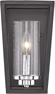 Golden Lighting 4309-WSC BLK-SD Mercer - One Light Wall Sconce, Black Finish with Seeded Glass