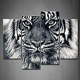 First Wall Art Cuadro de Pared con diseño de Tigre Blanco y Negro con Ojos Mirando y Barba, impresión de imágenes sobre Lienzo, Animales, la Imagen para