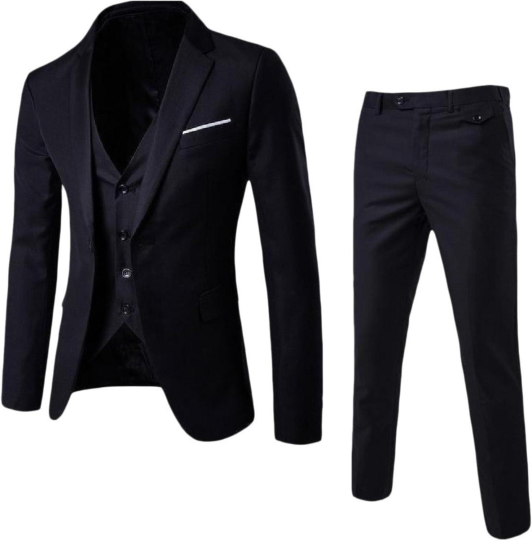 3aaf9db90 Freely Mens Business 3 3 3 Pieces Notch Lapel Patch Blazer Jacket ...