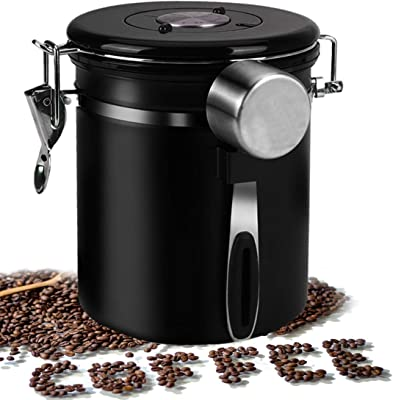 Coffee Container, Airtight Coffee Canister Stainless Steel Kitchen Food Storage Container, Coffee Ground container/Coffee Bean Vault Jar With One Way Co2 Valve and Scoop, 22oz Large Capacity
