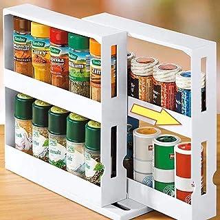 ECOSWAY Étagère à épices multifonction à 2 niveaux, peut contenir jusqu'à 20 pots à épices, assaisonnement, support rotati...