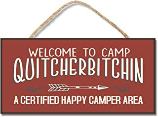 "Aianhe Personalized Wood Camp Signs Plaque with Hanger with Funny Sayings for Camper Welcome to Camp Quitcherbitchin Hanging Wooden Signs for Home Decor Art Crafts for Outdoor Decoration 10""x5"""