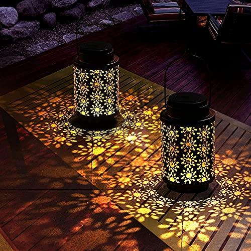 Kansang Farolillo solar para exterior, resistente al agua, pack de 2 unidades, ideal para decorar calles, jardines y terrazas (flor de ciruelo).