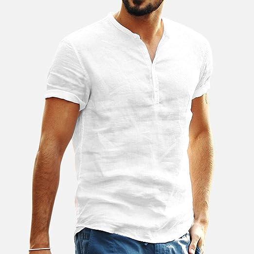 Overdose Camiseta de Hombre Blanco Ofertas Baggy Algodón Lino Color sólido Manga Corta Retro Camisetas Casual Tops para Hombres Blusa