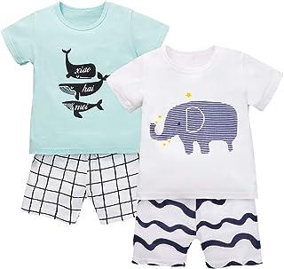 H HIBOBI Boys' T-shirt and Shorts Set Handsome Baby Outfit Cotton Short Sleeve 2pcs Suits