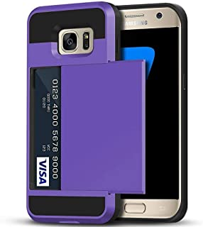 Galaxy S7 Edge Case, Anuck Slidable ID Card Slot Holder Galaxy S7 Edge Wallet Case [Credit Card Pocket] Hard Shell Shockproof Rubber Bumper Protective Case Cover for Samsung S7 Edge - Lavender